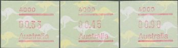Australian Framas: Kangaroo Button Set Postcode 4000: 45c cyclinder join 2nd printing